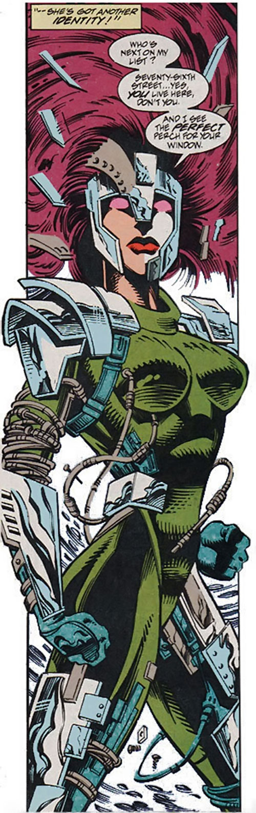 Typhoid (Daredevil character) (Marvel Comics by Nocenti) as Bloody telekinetically assembling her armor