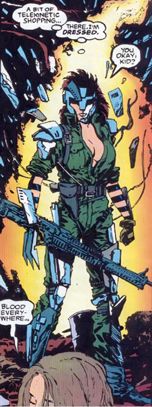 Typhoid (Daredevil character) (Marvel Comics by Nocenti) as Bloody with a M60 machinegun