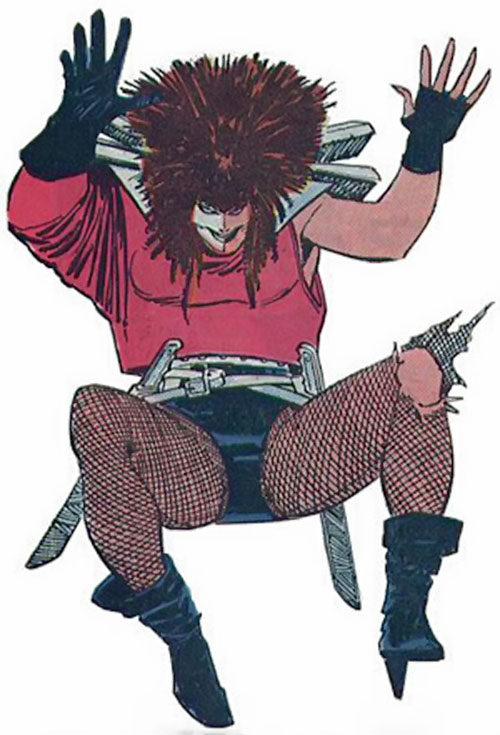 Typhoid (Daredevil character) (Marvel Comics by Nocenti) leaping with an impish air