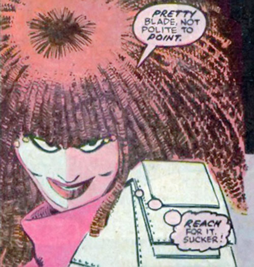 Typhoid (Daredevil character) (Marvel Comics by Nocenti) smiling cruelly