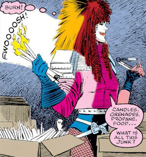 Typhoid (Daredevil character) (Marvel Comics by Nocenti) playing with candles
