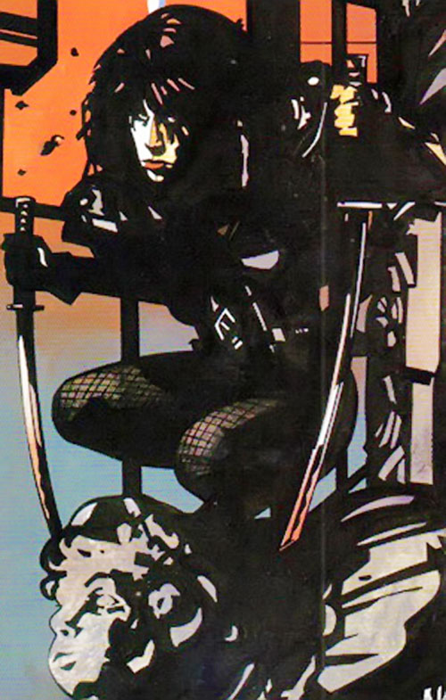 Typhoid (Daredevil character) (Marvel Comics by Nocenti) with paired Japanese swords