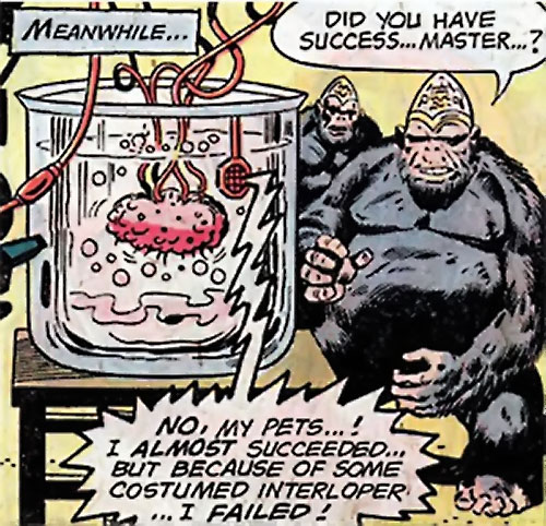 Brain in a jar and gorillas with dome brains (DC Comics) (Sandman)