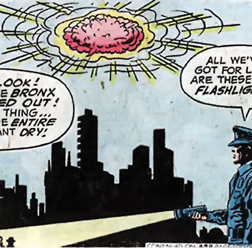 Giant brain monster floating over a blacked out New York City (DC Comics) (Sandman)