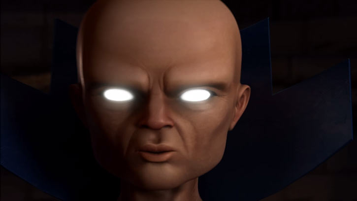 Uatu the Watcher in the Marvel Heroes video game, face closeup
