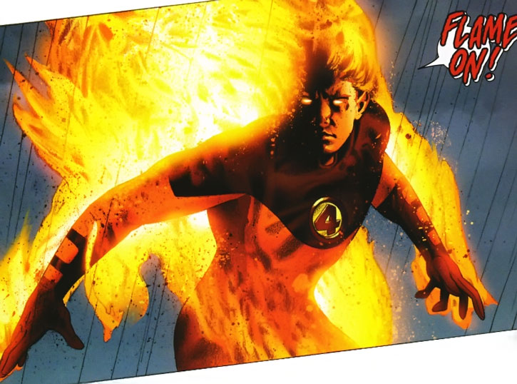 Ultimate Human Torch flaming on
