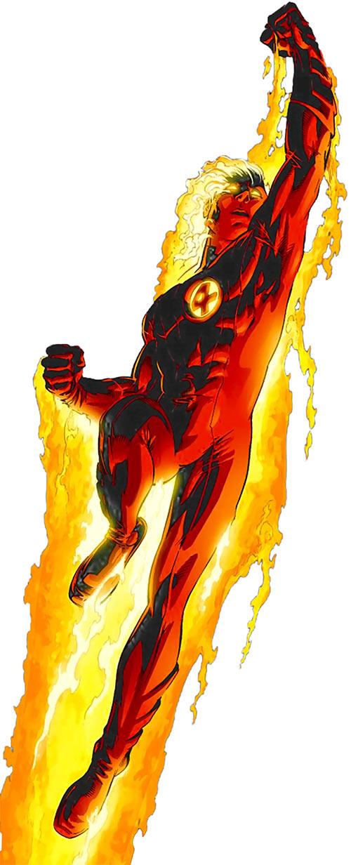 Human Torch taking off (Ultimate Marvel Comics) by Adam Kubert