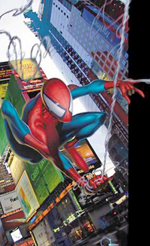 Ultimate Spider-Man (Peter Parker) swinging across Manhattan