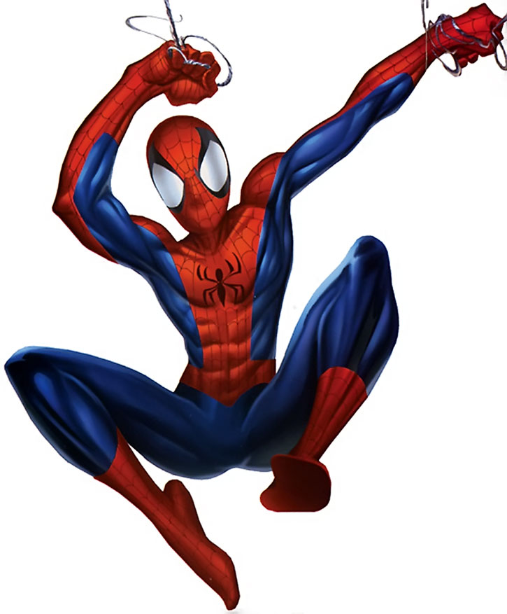 Ultimate Spider-Man (Peter Parker) swinging over a white background
