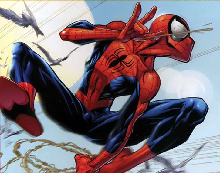 Ultimate Spider-Man (Peter Parker) swinging among pigeons