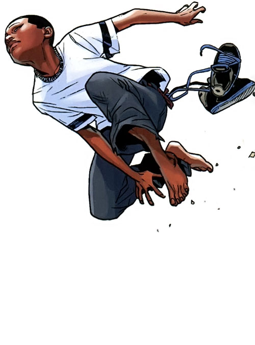 Spider-Man (Miles Morales) (Ultimate Marvel Comics) leaping around without his costume