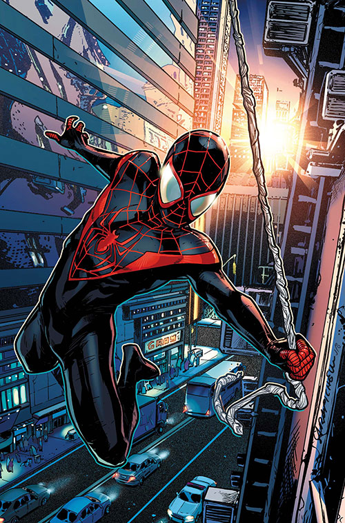 Spider-Man (Miles Morales) (Ultimate Marvel Comics) swinging over a street