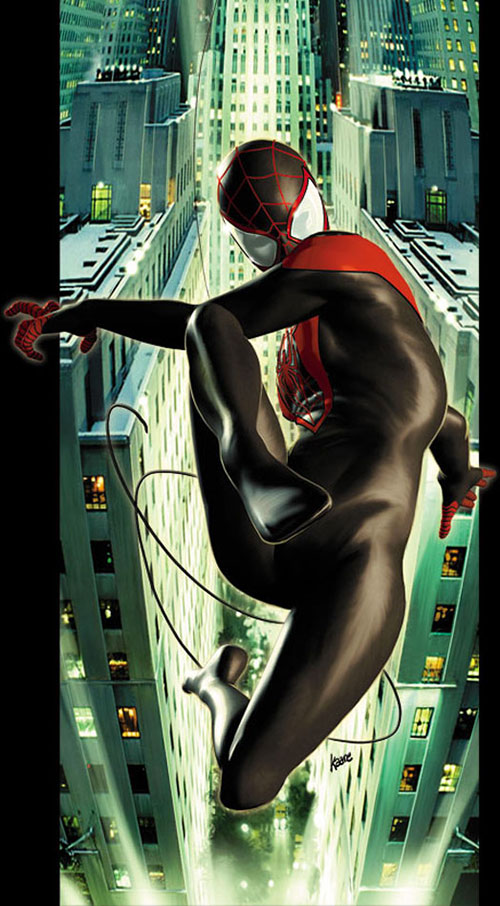 Spider-Man (Miles Morales) (Ultimate Marvel Comics) swinging across Manhattan