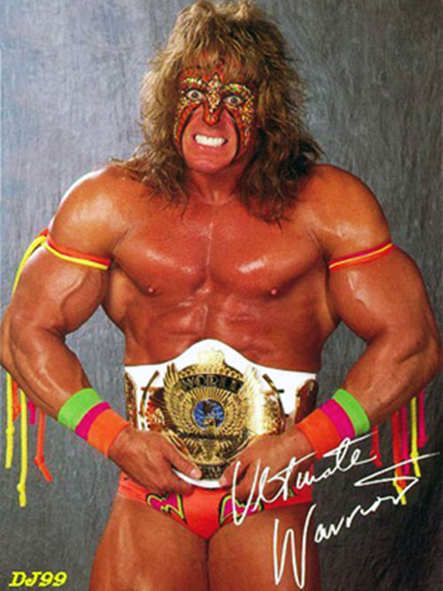 Ultimate Warrior with a prize belt