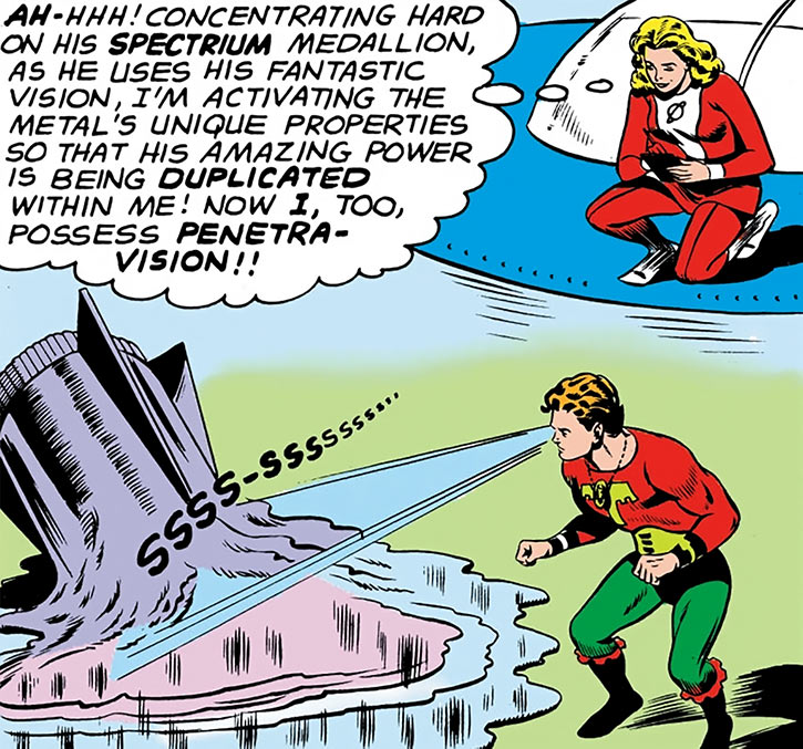 Very early Ultra-Boy melting stuff with eye beams as Saturn Girl plots