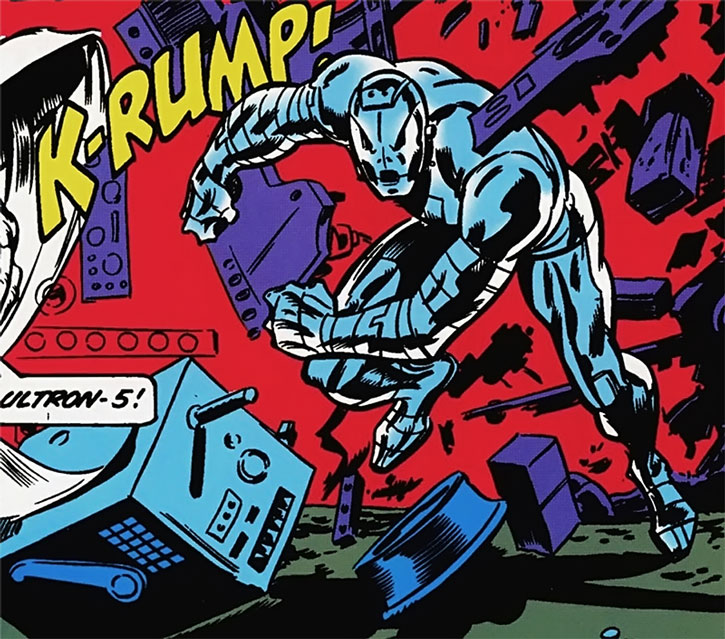 Ultron charges through a wall and machinery