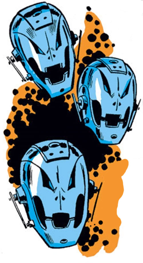 Ultron-5 (Avengers enemy) (Marvel Comics) floating heads and Kirby dots
