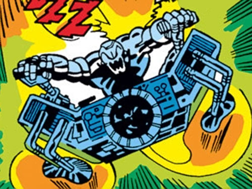 Ultron-6 (Avengers enemy) (Marvel Comics) jetting on his flying module