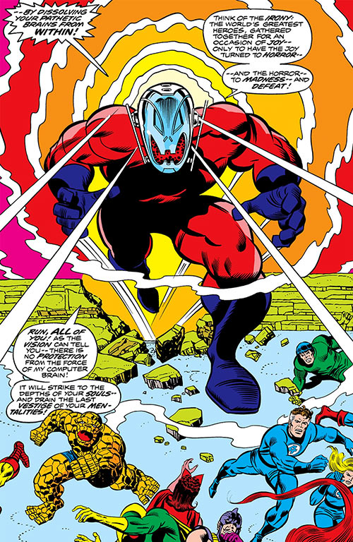 Ultron-7 (Avengers and Fantastic 4 enemy) (Marvel Comics) taking on many super-heroes