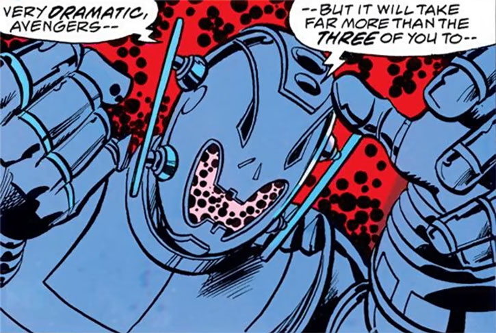 Ultron threatening, and Kirby dots