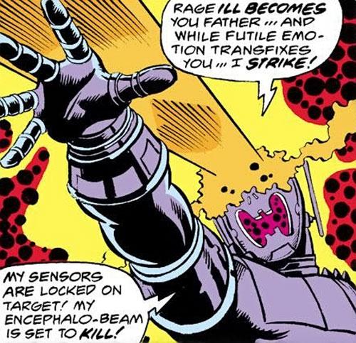 Ultron 8 through 12 (Avengers enemy) (Marvel Comics) shooting eyebeams