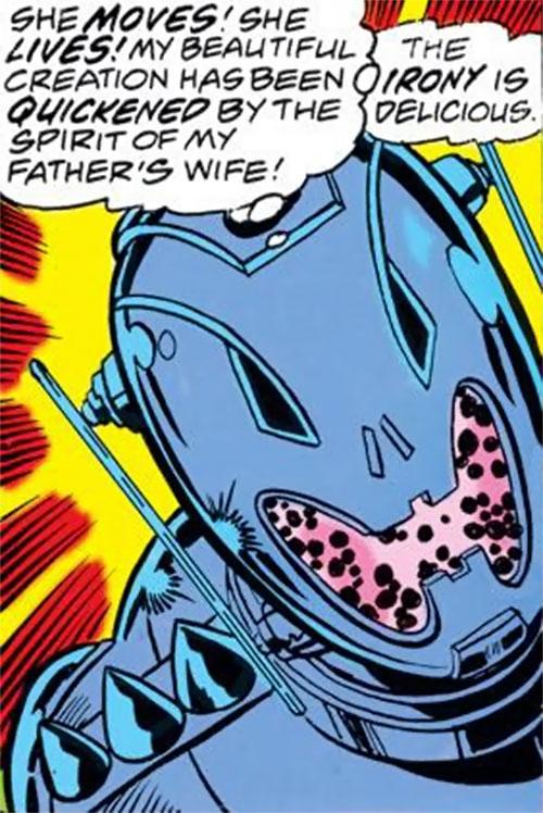 Ultron 8 through 12 (Avengers enemy) (Marvel Comics) face closeup