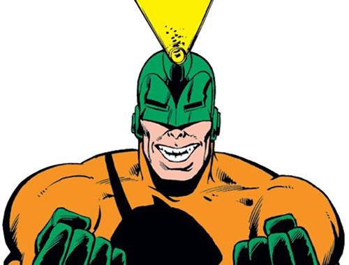 Unicorn (Iron Man enemy) (Masaryk) (Marvel Comics) closeup firing his horn
