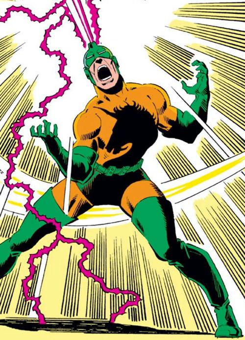 Unicorn (Iron Man enemy) (Masaryk) (Marvel Comics) blasting with his horn