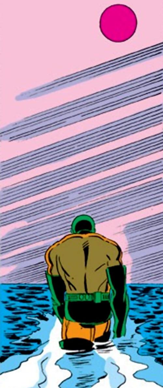 Unicorn (Iron Man enemy) (Masaryk) (Marvel Comics) walks away in the sea