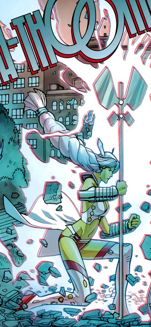 Universa (Invincible comics) blowing up the pavement with her staff