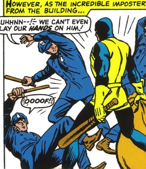 Unus the Untouchable (X-Men enemy) (Marvel Comics) disguised as a X-Man fights cops