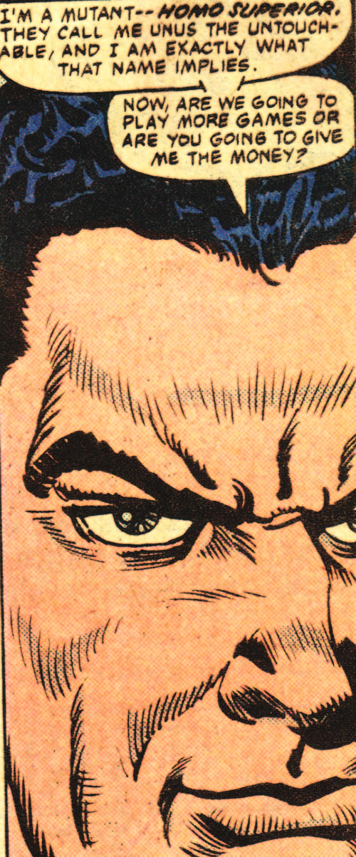 Unus the Untouchable (X-Men enemy) (Marvel Comics) face closeup
