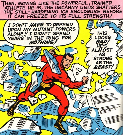 Unus the Untouchable (X-Men enemy) (Marvel Comics) smashes a ice wall