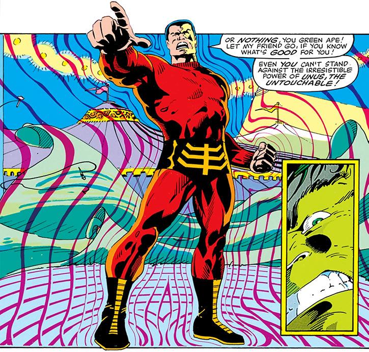 Unus the Untouchable (X-Men enemy) (Marvel Comics) fighting the Hulk in a circus