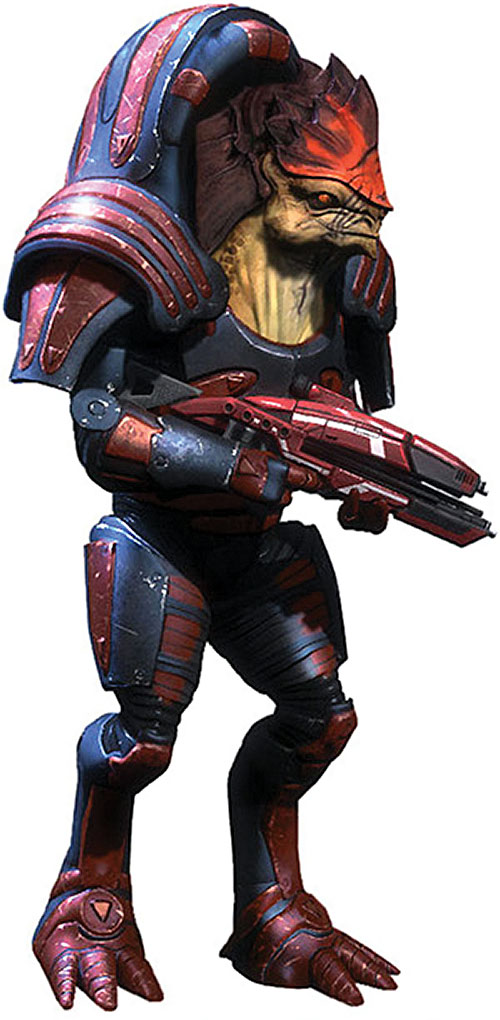 Urdnot Wrex (Mass Effect) basic body armor and assault rifle