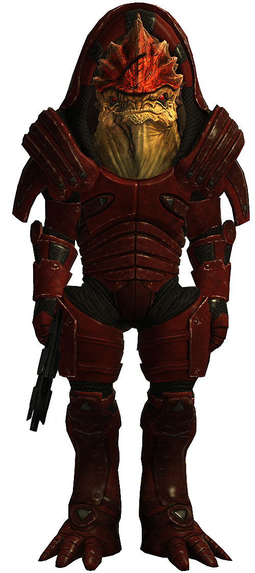 Urdnot Wrex (Mass Effect) with shotgun wielded as a pistol