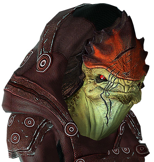 Urdnot Wrex (Mass Effect) face closeup