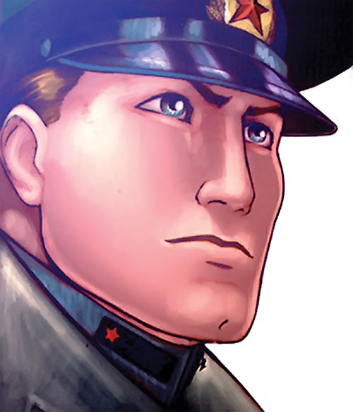 Urik Antares (The Red Star Comics) face closeup with military hat