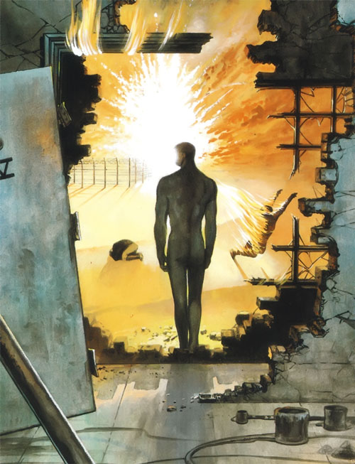 V (V for Vendetta comic) (Alan Moore) escapes from his cell