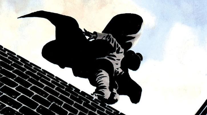 V for Vendetta - Moore Comics - V atop a brick wall