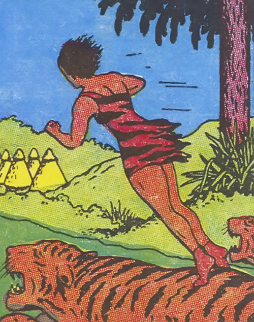 Vahine of Wildmoon (Fantomah enemy) (Jungle Comics) on her tiger