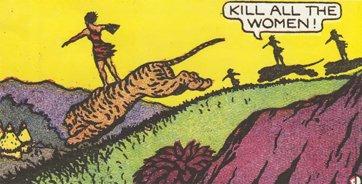 Vahines of Wildmoon (Fantomah enemy) (Jungle Comics) attacking a village