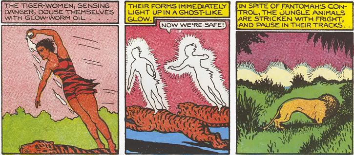 Vahines of Wildmoon (Fantomah enemy) (Jungle Comics) using glow-worm oil