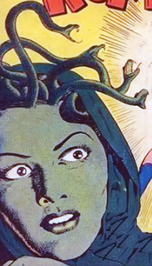 Valentina the Serpent Queen (Darna enemy) vintage art with green face