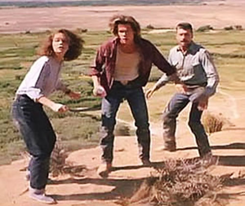 Valentine and Earl (Kevin Bacon and Fred Ward in Tremors movies) with Rhonda
