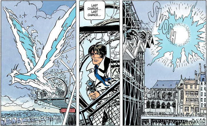 Valerian (and Laureline graphic novels) destriys an energy bird in Beaubourg