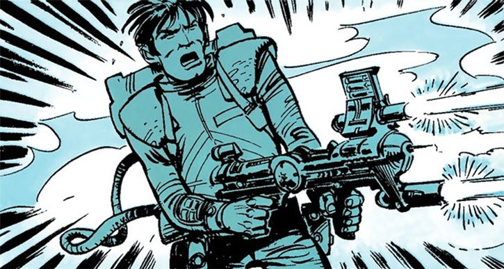 Laureline and Valerian (plot/story article) Valerian with a gun