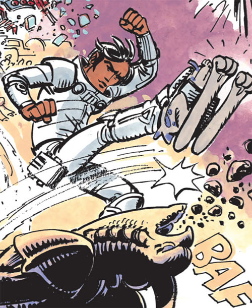 Valerian & Laureline - Useful alien animals - Valerian fighting with uniroos