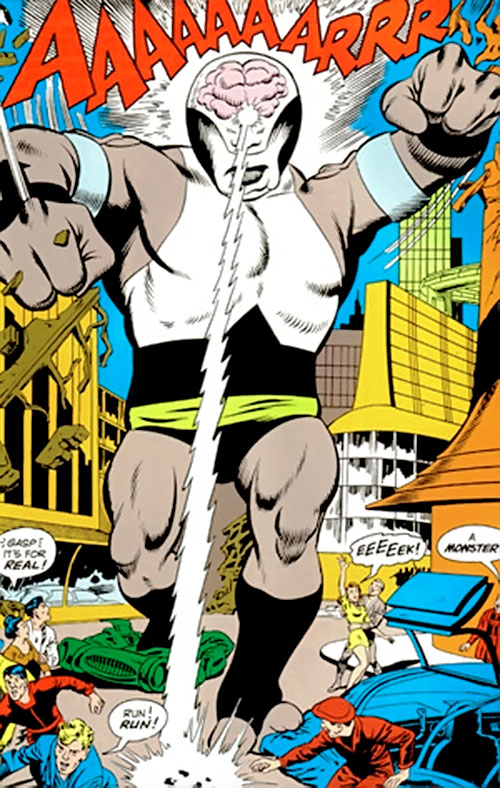 Validus of the Fatal Five (Legion of Super-Heroes enemy) (pre-boot DC Comics) blasting a street with lightning