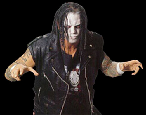 Vampiro (wrestler) over a black background